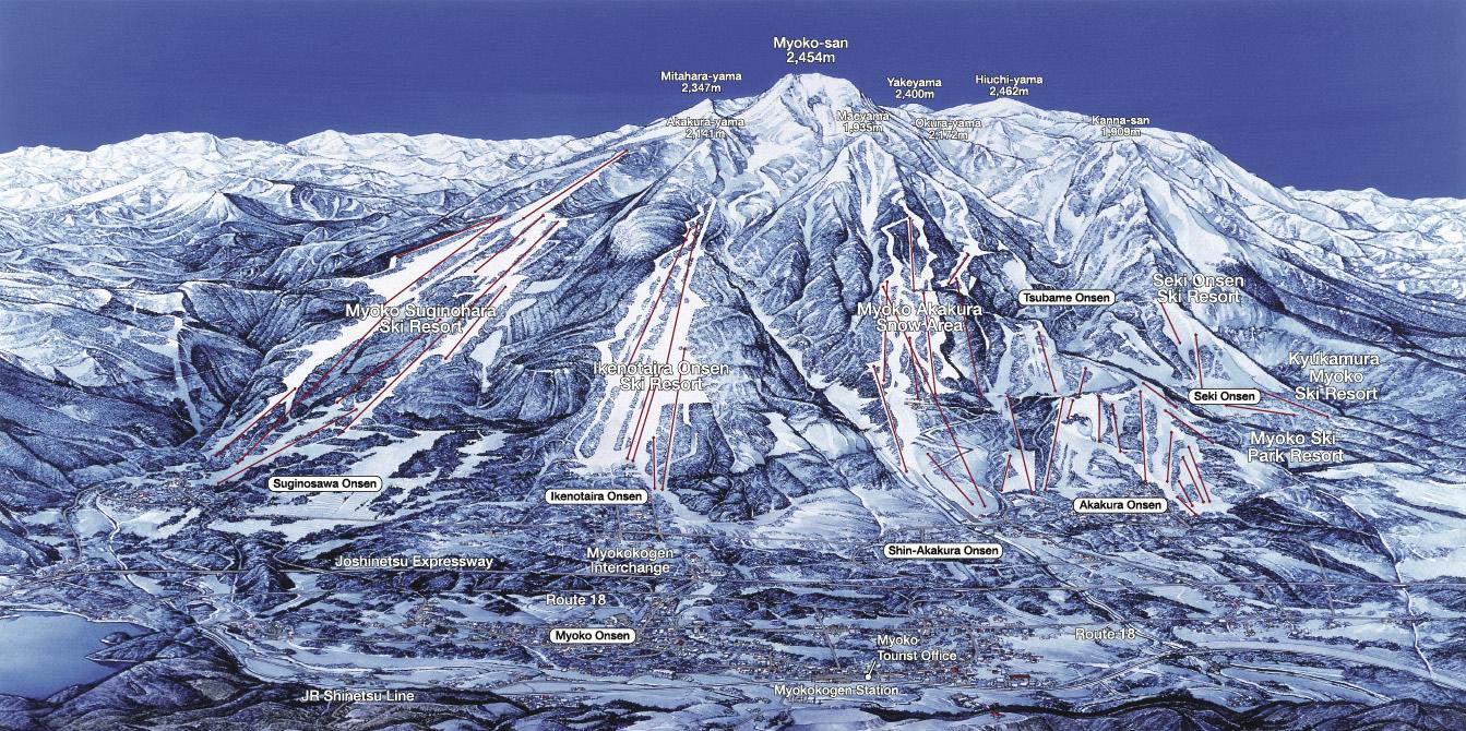 myoko ski area map giappone 2018